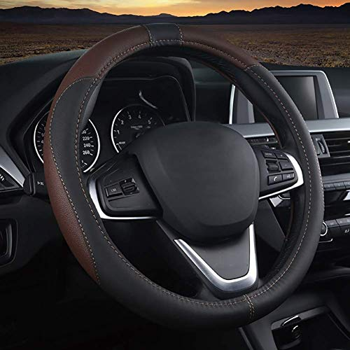 ZXHteering Wheel Cover WH Diámetro de la Cubierta del Volante del automóvil 38-50 CM Funda de Cuero Antideslizante Resistente al Desgaste for Camiones, todoterrenos, automóviles, (Size : 47cm)