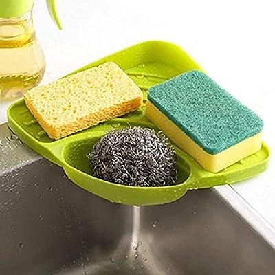 Tloowy Kitchen Gadget Organizer Sink Suction Corner Shelf Wall Cuisine Dish Rack Drain Shelf Sponge Holder from TLoowy