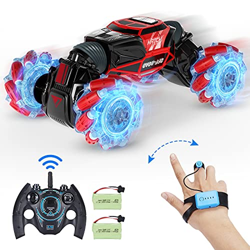 RC Cars, VarMote Off-Road 4WD Remote Control Cars 2.4GHz Fast RC Stunt Car, 1:16 RC Drift Cars 360° Double Sided Flips Crawler with 2 Rechargeable Battery Packs and Lights for Adults Kids Gift