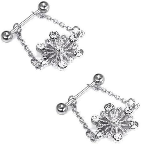 Body Accentz Nipple Ring Bars Snowflake Body Jewelry Pair 14 Gauge Sold as Pair