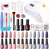 Gellen Gel Nail Polish Starter Kit with 72W UV/LED Nail Lamp - 12 Colors Top Base Coat, Upgraded Essential Home Manicure Tools Anti-UV Gloves Popular Nail Art Designs, Nude Grays
