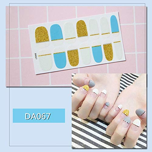 20 Typs Self-Adhesive Full Wraps Nail Polish Stickers Gradient Marble Check Cute Animals Pattern Nail Art Decals Strips Manicure