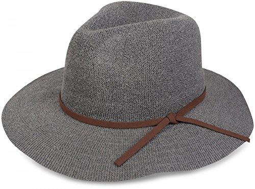 styleBREAKER Bogart Hut, Fedora Knautschhut mit Zierband in Wildlederoptik, Cowboy Hut, Damen 04025009, Farbe:Grau