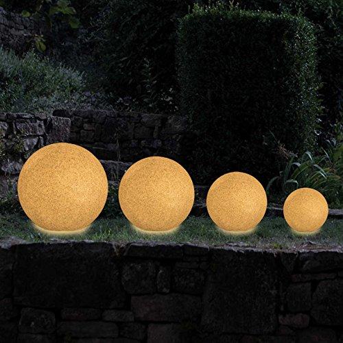 MAXCRAFT Gartenleuchte Rund Gartenlampe Gartenbeleuchtung Lampe Kugel Außenleuchte Kugelleuchte Außen für Garten Fassung E27 mit 6 Erdspießen Naturstein-Optik IP65 mit 2 Meter Kabel - Ø 30 cm