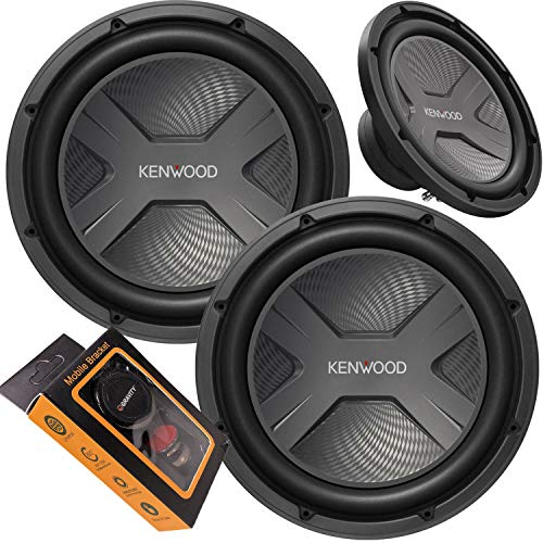 Pair of Kenwood KFC-W3041 12  4 Ohm 2000W Car Subwoofer (2 Pieces) with Gravity Magnet Phone Holder Bundle