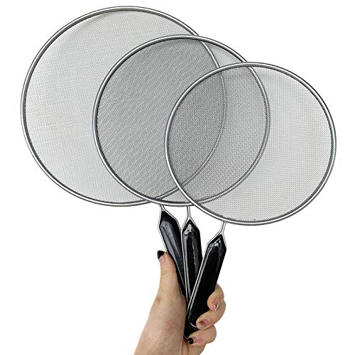 3 Pieces Grease Splatter Screen For Frying Pan Cooking, 7.5in, 8.3in, 10in, Stainless Steel Grease Splatter Guard, Super Fine Mesh Iron Skillet Lid for Kitchen Frying Pan Cooking Supplies