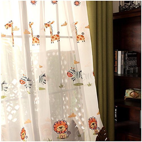 CYSTYLE Neue 1er Tierwelt Zebra Löwe Schal Vorhang Dekosachl Transparent Gardinen Kinderzimmer Mädchen Junge (150 x 200 cm)