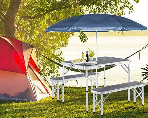 Casaria Mesa de Camping con 2 Bancos Plegables con función de Maleta para Mejor Transporte Aluminio Color Gris para jardín