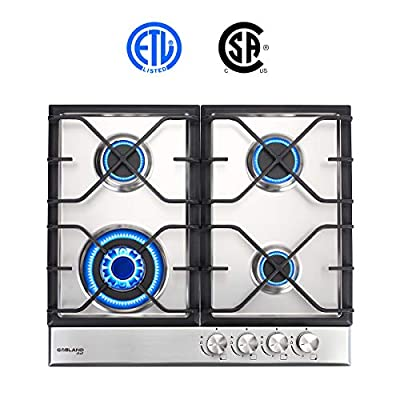 """24"""" Built-in Gas Cooktop, GASLAND Chef GH60SF 4 Burner Gas Hob, 24 Inch NG/LPG Convertible Natural Gas Propane Cooktops, High Power Burner Gas Stovetop with Thermocouple Protection, Stainless Steel"""