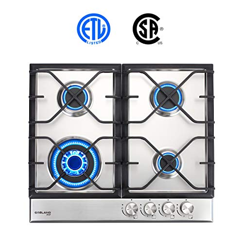 "24"" Built-in Gas Cooktop, GASLAND Chef GH60SF 4 Burner Gas Hob, 24 Inch NG/LPG Convertible Natural Gas Propane Cooktops, High Power Burner Gas Stovetop with Thermocouple Protection, Stainless Steel"