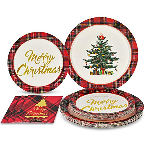 Christmas Paper Plates and Napkins Set for 50 Guests Includes 50 9' Dinner Plates 50 7' Dessert Plates and 100 Luncheon Napkins Christmas Tree Disposable Dinnerware