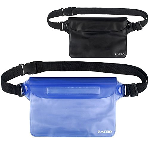 Zacro Universal Waterproof Pouch with Waist Strap (2 Pack)