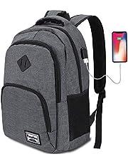 YAMTION Laptoprugzak, rugzak voor heren met USB-aansluiting, schoolrugzak voor jongens en tieners met 15,6 inch laptopvak voor werk, school en reizen, 35 l