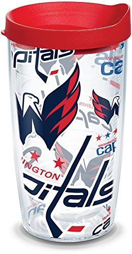 Tervis NHL Washington Capitals All Over Tumbler with Wrap and Red Lid 16oz, Clear