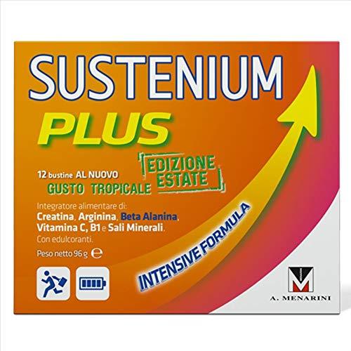 Sustenium PLUS - Edizione ESTATE gusto TROPICALE INTENSIVE FORMULA 12 bustine Creatina, Arginina, Beta Alanina, Vitamina C, B1 e sali minerali