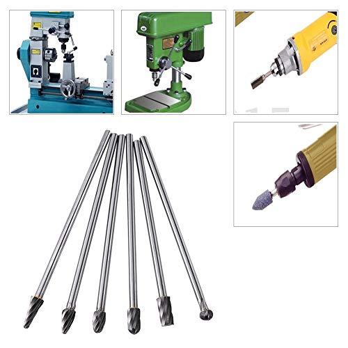 Nologo LL-LL Whirl Burrs, 6pcs Tungsten Carbide Aluminum Whirl Files Burr Set 6mm Shank 10mm Cutting Diameter Drill