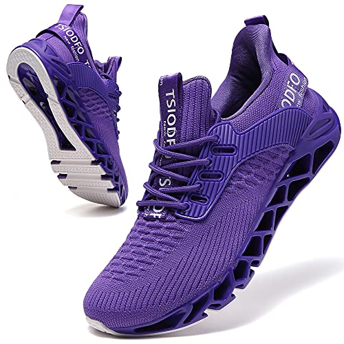 SKDOIUL Fashion Men Sport Running Sneakers Tennis Athletic Walking Shoes Mesh Breathable Comfort Fashion Casual Gym Runner Jogging Trainers Purple Size 13