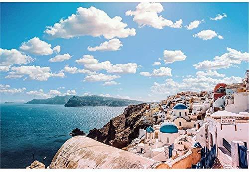 SLZJ Rompecabezas de la Serie Santorini, de Madera 1500-6000 Piezas de Juguete de eliminación de estrés para Adultos difíciles-1500 tabletas