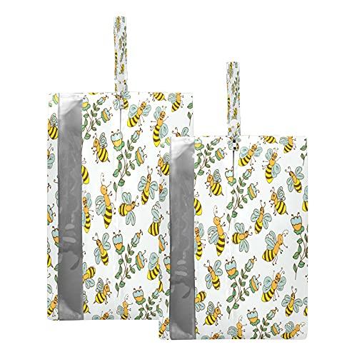F17 - Bolsas de viaje para zapatos de viaje, diseño de abejas, hojas de flores y hojas, impermeable, portátil, ligera, bolsa de almacenamiento para hombres y mujeres, 2 unidades