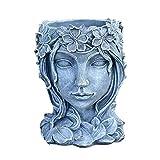 Vintage Art Portrait Sculpture Pot de Fleurs, Intérieur Extérieur Tête...