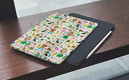 MEMETARO Funda para iPad 10.2 Pulgadas,2019/2020 Modelo, 7ª / 8ª generación,Chica Hula Fiesta Hawaiana Tropical Continua Gente Tucán Piña Smart Leather Stand Cover with Auto Wake/Sleep