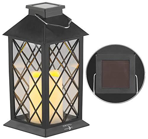 Lunartec Gartenlaterne: Solar-Laterne mit Deko-Kerze und Flammen-Effekt-LED, Dämmerungs-Sensor (Solar-Laterne mit Flacker-Kerze)