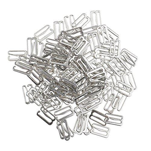 100x Bikini Verschluß Dessous BH Ringe Schnallen Schieberegler BH-Verschlüsse, Kunststoff - Silber, 15mm