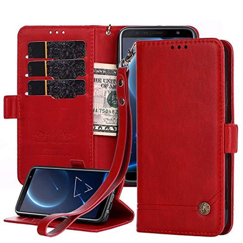 Nokia 6.1 Plus 2018 Lederhülle, Nokia X6 Wallet Hülle, Magnetverschluss, Flip Folio Hülle Cover mit Kartenfächern & Ständer für Nokia X6/Nokia 6.1 Plus 2018 (rot)