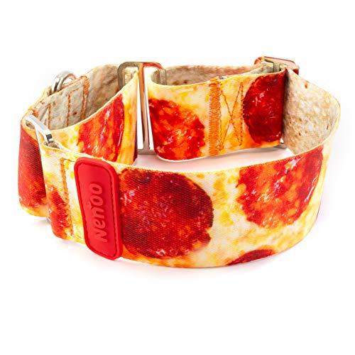 Nenoo Collar Martingale para Galgos y Otros Perros Que Escapan de los Collares Normales. Patrón de Deliciosa Pizza! 30-49 cm