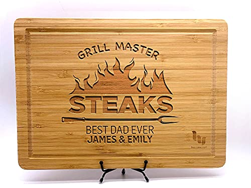 Grill Master Cutting Board for Dad or Grandpa, Steak Lover Father, With Children Names, Grill Lover Dad Gift, Personalized Cutting Board Gift for Men, BBQ Gifts, Customized Cutting Board, 9 Designs