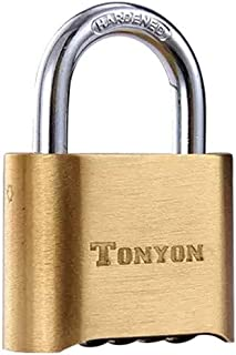 Combination Padlock-4 Dial Bottom Resettable Brass Code Lock,1 Pack by ACE Unite (1in)