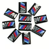 Pinzhi - 10x 3D Pegatina para Coche BMW M3 M5 M6 Auto Adhesivo Emblema Llantas Volante