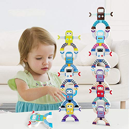 Charwin Building Block Toys, Wooden Stacking Games, Robot Stacking Hercules Blocks Troupe Interlock Toys, Balancing Games Toddler Educational Toys for 3 4 5 6 Years Old Kids Infants Adults 12 PCS