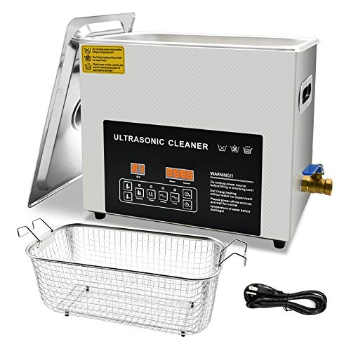 6L Professional Ultrasonic Cleaner with Digital Timer &Heater for Jewelry Glasses Watch Dentures Small Parts Circuit Board Dental Instrument, Industrial Commercial Ultrasound Cleaning Machine
