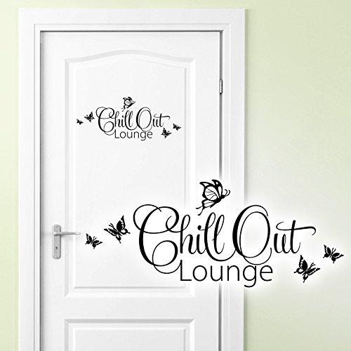 Grandora Wandtattoo Chill Out Lounge I schwarz (BxH) 28 x 12 cm I Türaufkleber Schlafzimmer Kinderzimmer Sticker Aufkleber Wandaufkleber Wandsticker W882