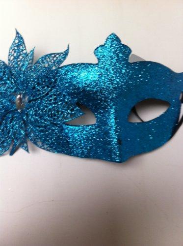 Bleu Paillettes Fleur Mascarade Masque