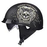 LALEO Retro Harley Offenes Motorradhelm, Persönlichkeit Graffiti Abnehmbar Atmungsaktiv Warm Halten...