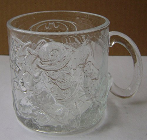 Batman Forever Riddler Glass Mug - 3 1/4 inches x 3 1/8 inches - McDonalds