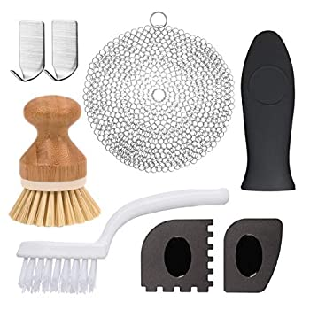 Cast Iron Cleaner Gzingen 8 Pcs Cast Iron Skillet Cleaner Set Include 316 Premium Stainless Steel Cast Iron Skillet Chainmail Scrubber with Bamboo Dish Brush Hot Handle Holder Pan Scrapers Hooks