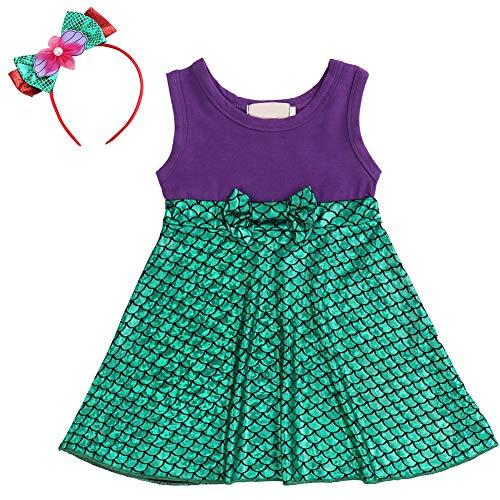 Disfraz de Princesa pequea para nia Ariel Sirena Minnie Vestido Dibujos Animados Fancy Birthday Party Tutu Dress Up Gown para 12 Meses hasta 5 aos de Edad Verde 120 cm