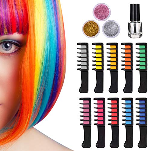 10 Color Hair Chalk Comb and 3 Boxes Glitter Powder with 1 Bottle of Skin-safe Glue - Great Gifts for Kids, Premium Temporary Hair Chalk, Non Toxic Washable Color Comb for Birthday Party, Halloween, Christmas, Costume Play, Show