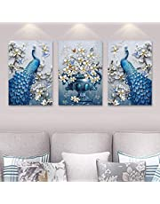 Rangoli 3D Print Peacock MDF Framed Painting for Home Decoration (3D Unique, 12 inch x 18 inch,Each Frame Size Set of 3)