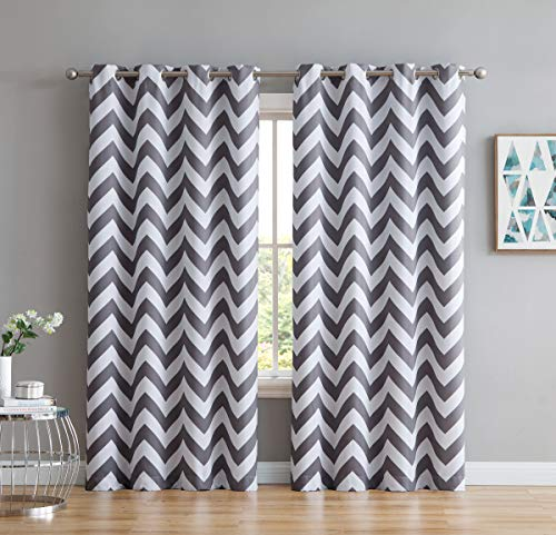 """HLC.ME Chevron Print Thermal Insulated Energy Efficient Room Darkening Blackout Window Curtain Grommet Top Panels for Bedroom & Nursery - Set of 2-52"""" W x 84"""" L - Grey"""
