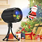 Tonha RG-LEDB-J01 3D Rotating Projection Lamp Projector Light | 20 Moving Christmas Patterns for Indoor Outdoor Use | Remote Control | Waterproof | 5m Cable | 15m Max Distance, Stars, Laser