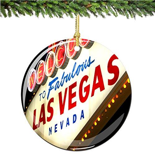 Las Vegas Christmas Ornament, Las Vegas Welcome Sign Porcelain 2.75' Double Sided Las Vegas Christmas Ornaments