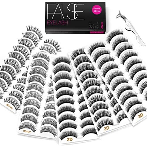 Eliace 50 Pairs 5 Styles Lashes Handmade False Eyelashes Set