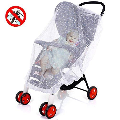 Insectenwerende horren voor kinderwagen, universeel borduurwerk kinderwagen klamboe opvouwbaar muggennet voor alle plafonds Het dichte muggennet voor baby's