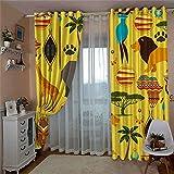 HHJJ Cortinas opacas con aislamiento térmico, color amarillo y con diseño de animales, cortinas opacas para sala de estar, (tamaño: 336 x 183 cm)