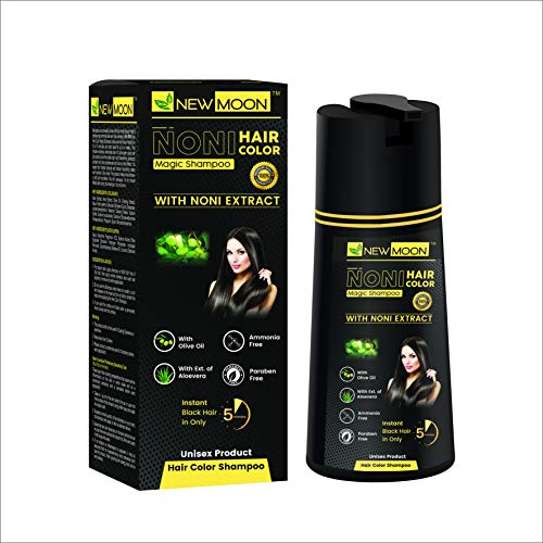 New Moon No Amonia Instant Black Hair Color Shampoo | Instant Black Hair in Just 5 minutes | 100% Grey Coverage | Enriched with Noni, Olive, Aloe & Gingseng Extracts (size: 400 ML) (Pack of 1)