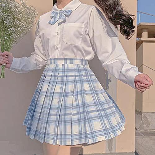 Falda Plisada Faldas Plisadas De Cintura Alta para Niñas De La Escuela Japonesa Faldas A Cuadros Azules Vestido De Mujer Manga Larga/Corta Uniforme Escol